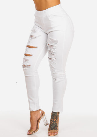 High Waisted White Ripped Skinny Ankle Jeans