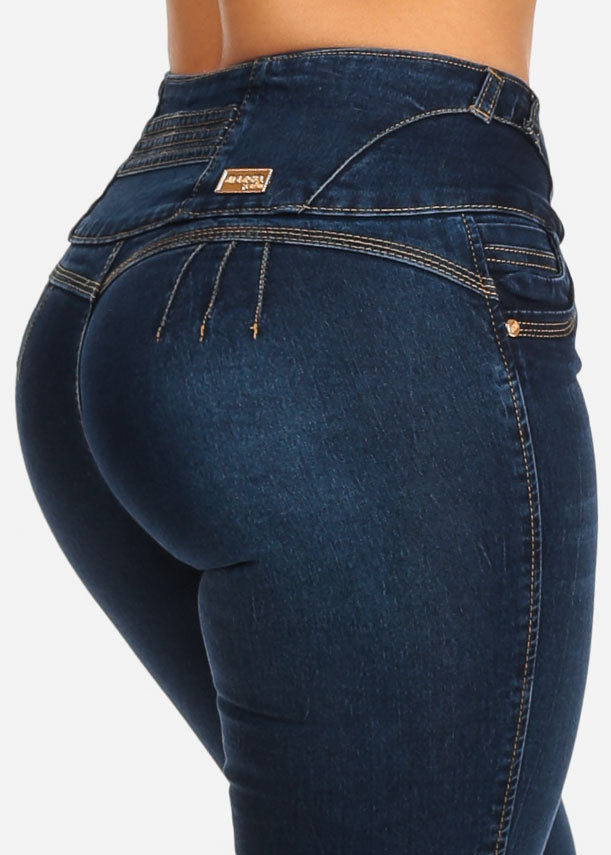 Med Wash Butt Lifting Skinny Jeans