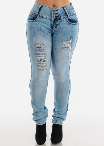 Image of Torn Acid Wash Butt Lifting Skinny Jeans