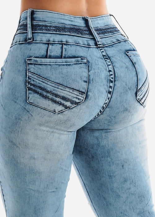 Torn Acid Wash Butt Lifting Skinny Jeans