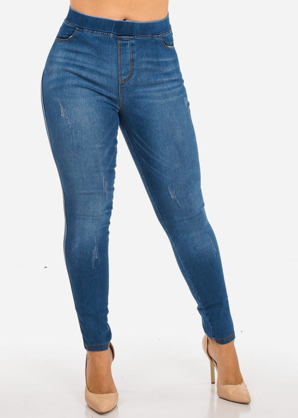 Plus Size High Waisted Ripped Ankle Skinny Jeans