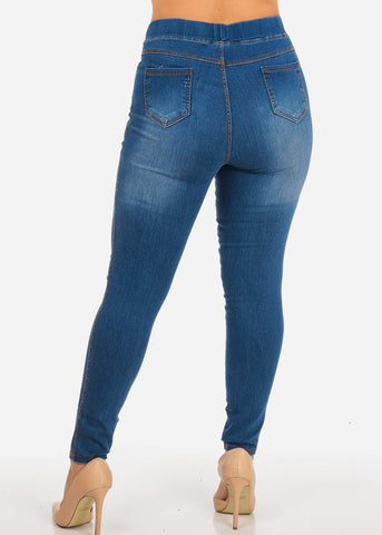 Image of Plus Size High Waisted Ripped Ankle Skinny Jeans
