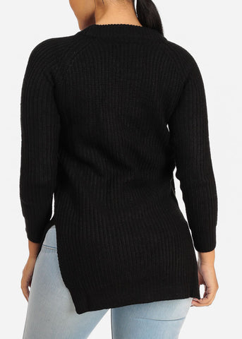 Image of Black Knitted Cozy Sweater