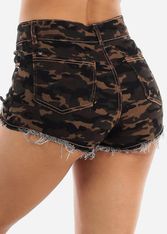 Distressed Camo Denim Shorts