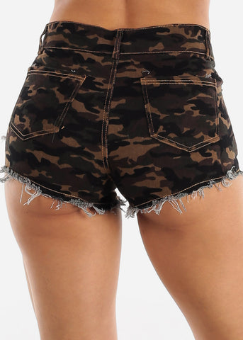 Image of Distressed Camo Denim Shorts
