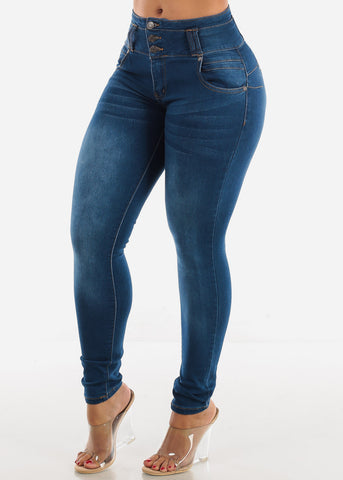 Levanta Cola  High Rise Med Wash Skinny Jeans