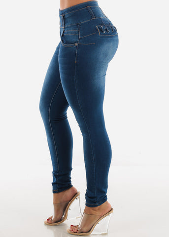 Image of Levanta Cola  High Rise Med Wash Skinny Jeans