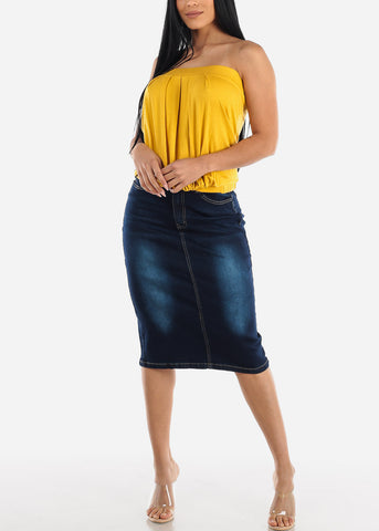 Image of Dark Wash Denim Pencil Skirt