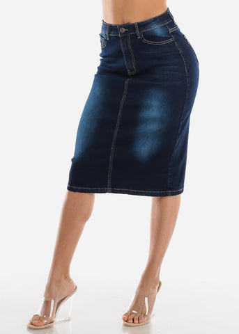 Dark Wash Denim Pencil Skirt