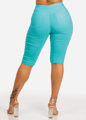 Teal High Waisted Capri Jeggings Bermudas