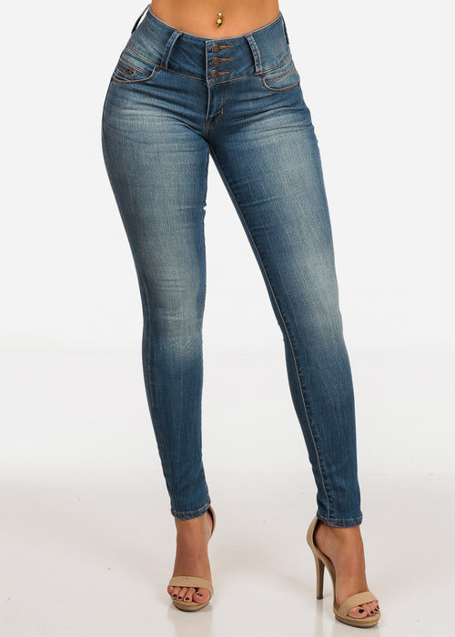 NINE PLANET Stylish Mid Rise Med Wash 3 Button Skinny Jeans