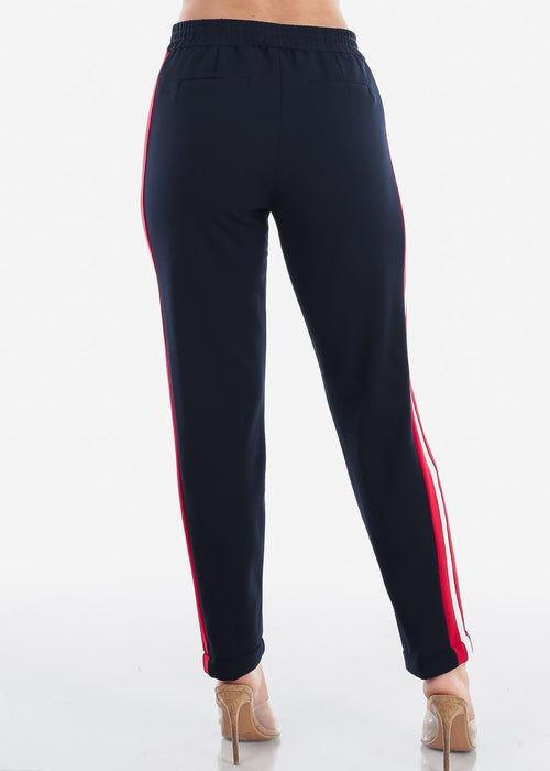 High Rise Pull On Style Side Stripe Navy Straight Leg Dressy Pants For Women Ladies Junior