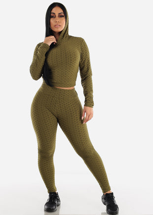 Anti Cellulite Olive Hoodie & Leggings  (2 PCE SET)