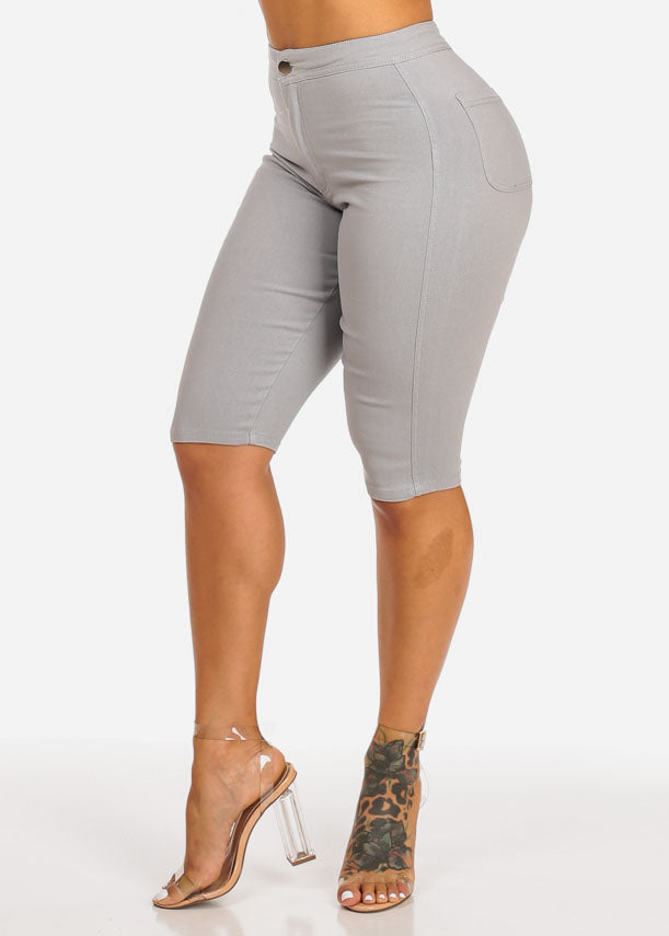 Grey High Waisted Capri Jeggings Bermudas