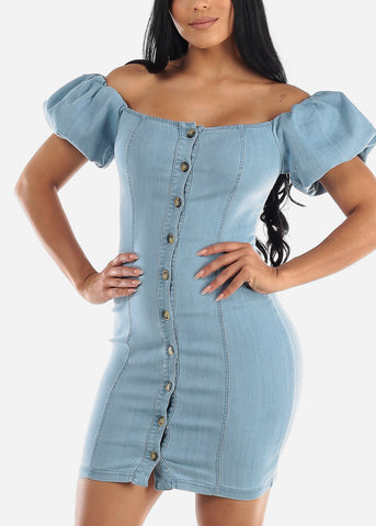 Puff Sleeves Light Wash Denim Mini Dress