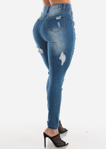 Image of Double Sided Torn Med Wash Skinny Jeans