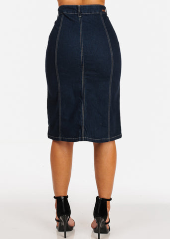 Trendy Dark Wash High Waisted Button Up Skirt