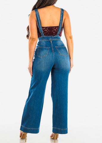Med Wash Wide Legged Denim Overall