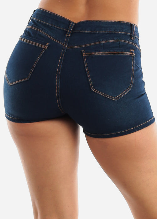 Dark Wash Butt Lifting Denim Shorts