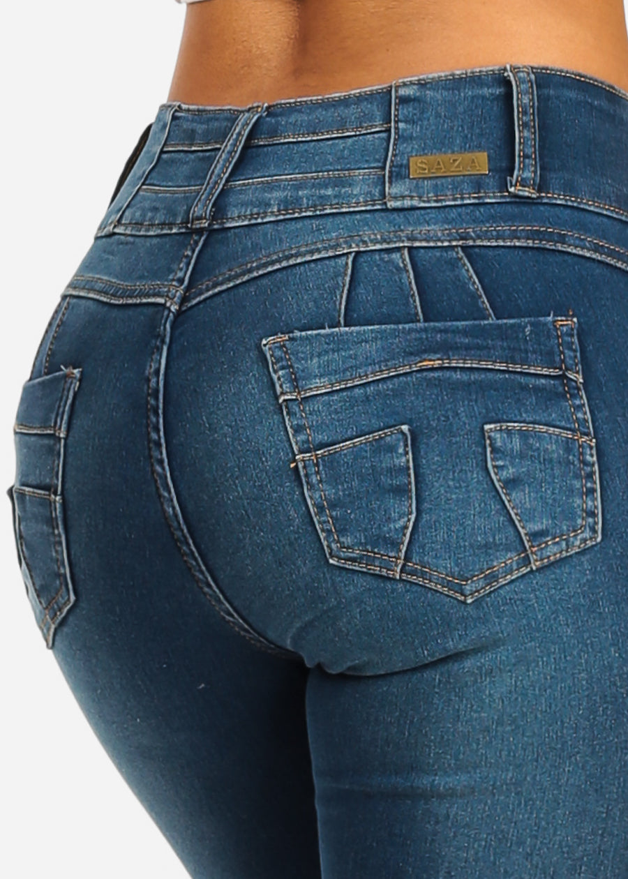 9ae8a194200 Mid Rise Distressed Brazilian Butt Lift Design Mid Wash Skinny Jeans