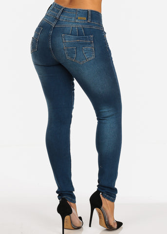 Image of Mid Rise Distressed  Brazilian Butt Lift Design Mid Wash Skinny Jeans