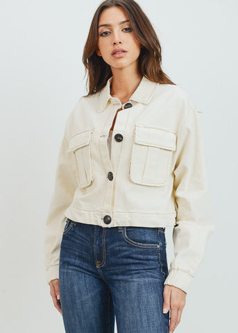 Image of Casual Button Down Ivory Jacket