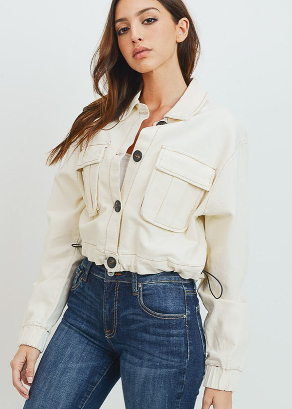 Casual Button Down Ivory Jacket