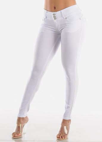 White Butt Lifting Jegging Skinny Pants