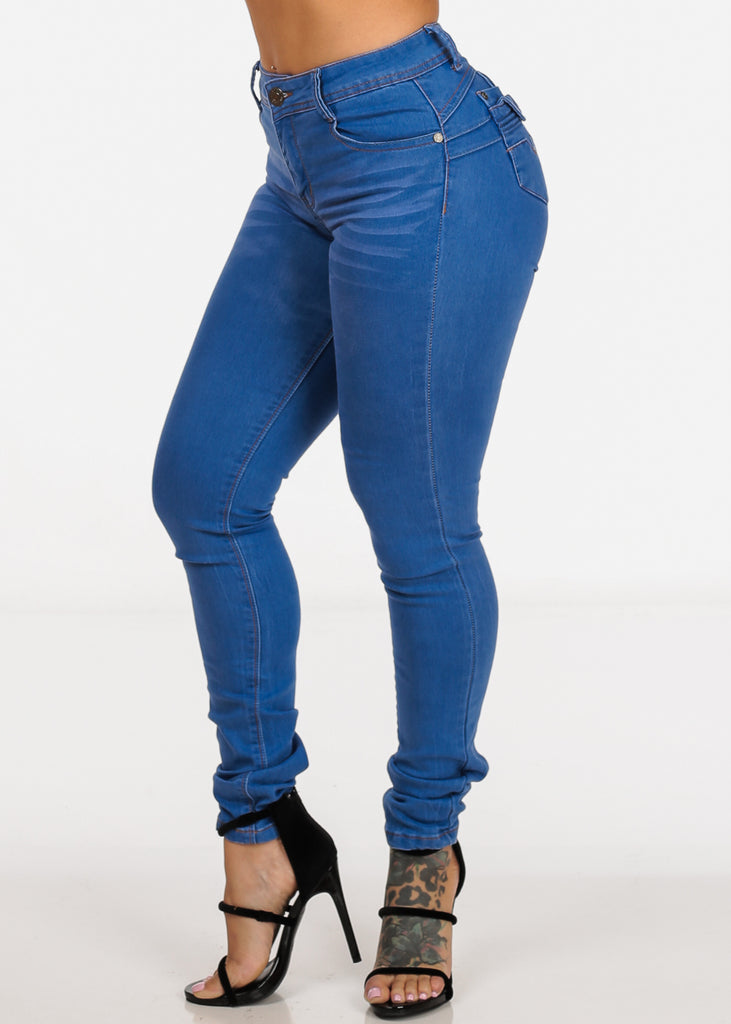 Light Wash High Waisted Butt Lifting  Levanta Cola Skinny Jeans