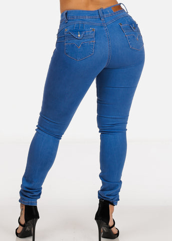 Image of Light Wash High Waisted Butt Lifting  Levanta Cola Skinny Jeans