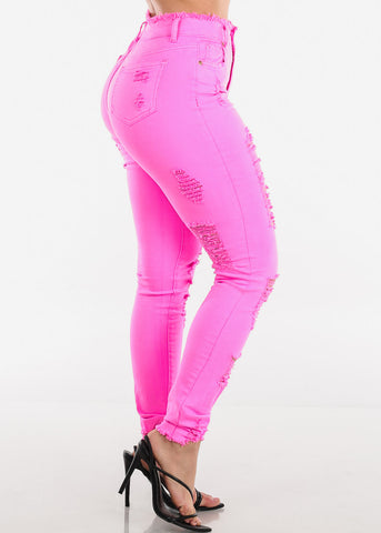 Torn High Rise Hot Pink Jeans