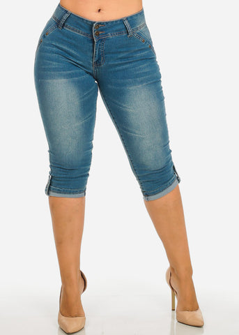 Mid Rise Light Wash Denim Capri
