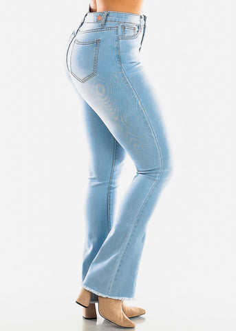 High Waisted Light Wash Wide Leg Jeans