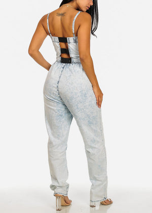 Light Wash Cut Out Back Denim Jumpsuit
