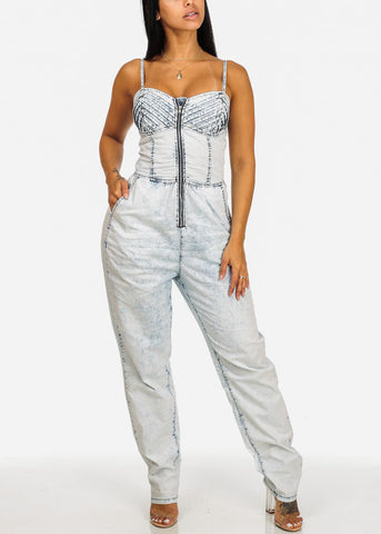 Image of Light Wash Cut Out Back Denim Jumpsuit