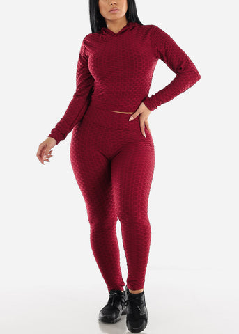 Anti Cellulite Burgundy Hoodie & Leggings  (2 PCE SET)