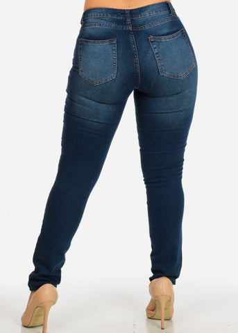 Image of Mid Rise Med Blue Distressed Skinny Jeans