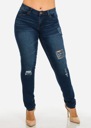 Mid Rise Med Blue Distressed Skinny Jeans