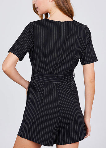 Image of Wrap Front Black Belted Romper