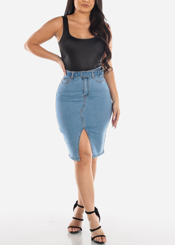 Belted Med Wash Denim Skirt