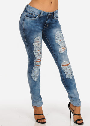 Acid Wash Low Rise 1 Button Distressed Skinny Jeans