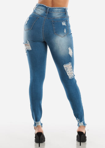 Med Wash Double Sided Torn Skinny Jeans