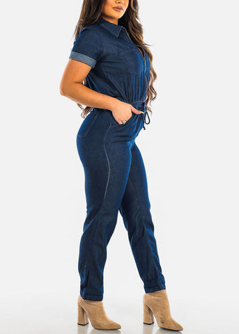 Image of Half Zip Up Dark Wash Denim Jumpsuit