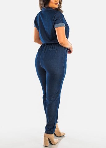 Half Zip Up Dark Wash Denim Jumpsuit