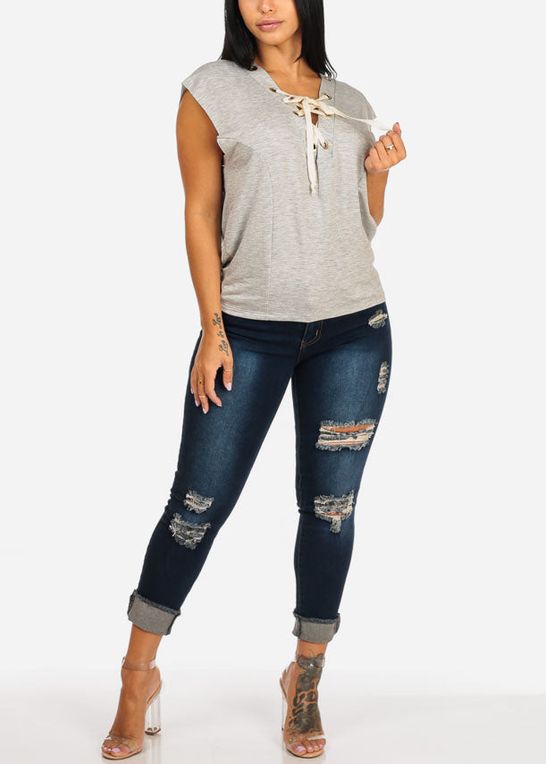 Distressed Mid Rise Dark Ankle Skinny Jeans