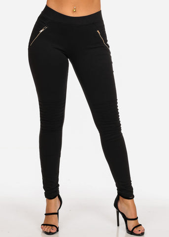 Women's Junior Ladies Sexy Pull On High  Rise Front Zipper Design Moto Style Black Stretchy Pants