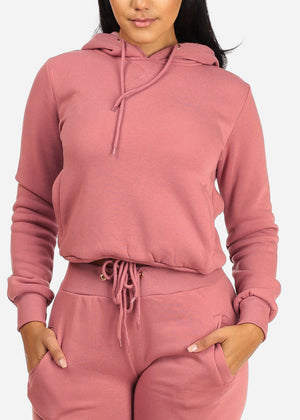 Solid Mauve Sweater W Hood