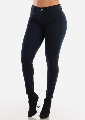 Image of Mid Rise Levanta Cola Navy Skinny Jeans