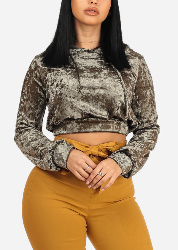 Olive Cropped Velvet Sweater