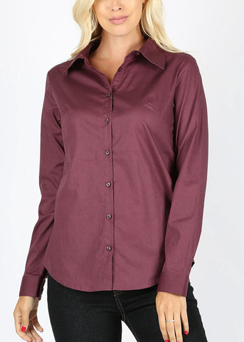 Image of Missy Fit Button Up Plum Shirt